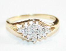 Beautiful 9ct Gold Diamond Cluster Ring 0.19cts H/Si Size L
