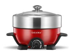 Tayama Shabu and Grill Multi-Cooker, TRMC-40, 3quart, Red