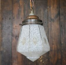 Small Art Deco Patterned Pendant Light with Brass Gallery - Rewired