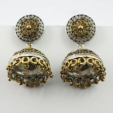 JHUMKI INDIAN JEWELRY SILVER PLATED AND BRASS EARRINGS  S16839