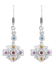 Harley Davidson Womens .925 Silver Stain Glass B&S Dangle Earrings HME0008