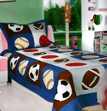 2pc Patchwork Sports Fan Youth Twin Sized Quilt Quilted Bedspread Set Bedding