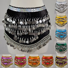 10 PCs Wholesale Lot Gold Silver Coins Sequins Band Belly Dance Hip Scarf