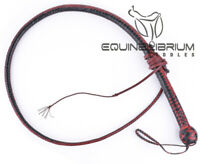 2 Foot to 8 Foot 12 Plait Leather Shot Loaded Red & Black Snake Whip