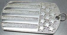 Stripes Dog Tag Pendant ~ 18.6 Grams 925 Sterling Silver Thick Artisan Stars &