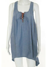 6 SHOREROAD Blue Chambray Cotton Leather Lace Up Detail Sleeveless Dress Sz XS