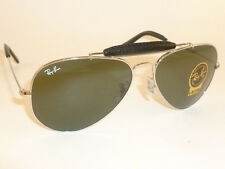 New RAY BAN  Aviator Silver Outdoorsman Leather  RB 3422Q 003  G-15 Lenses  55mm