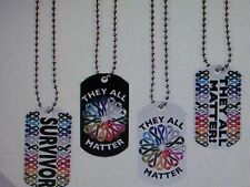 12 CANCER AWARENESS Dog Tag NECKLACES All Cancer Colors FREE SHIP
