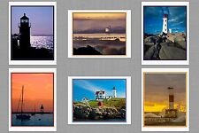 6 Lighthouse Blank Art Note Greeting Photo Cards Maine Oregon Michigan