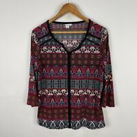 Rockmans Womens Top Large Multicoloured Boho 3/4 Sleeve Round Neck