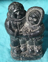 HAND CARVED SOAPSTONE INUIT ESKIMO ART SCULPTURE BY AL WOLF CHILDREN FLOWERS