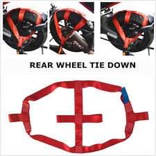 Motorcycle Red Rear Wheel Handlebar Transport Bar Tie Down Strap Strong Holder