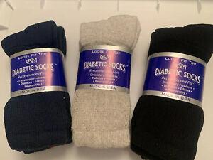 Creswell Women Diabetic Crew Socks  Size 9-11  Navy/Gray/Black
