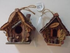 2 Small Wooden Birdhouses ~ Wood Bird Houses ~ Home Sweet Home & Cafe