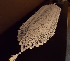 NEW - White Lace Table Runner or Dresser Scarf Scalloped Edge Tassel Floral