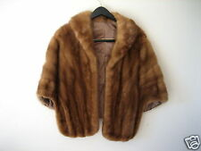 Vintage Fur Cape Stole Wrap Shawl Capelet Jacket Unknown Medium Brown Mink #1