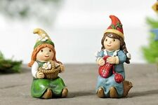 Miniature Dollhouse FAIRY GARDEN ~ Woodland Female Gnomes Set of 2 ~ NEW