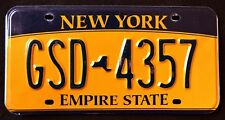 "NEW YORK "" EMPIRE STATE - GOLD - MAP "" GSD 4357 ""  NY Graphic License Plate"