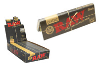 RAW Black Classic 1 1/4 Rolling Papers - 6 PACKS - Ultra Thinnest Vegan 1.25
