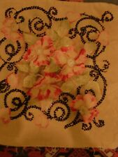 VTG ANTIQUE MISSION ARTS & CRAFTS EMBROIDERED FABRIC COTTON PILLOW CASE COVER