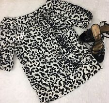 White House Black Market Womens 100%Silk Blouse Animal Print Size XS ((JY))