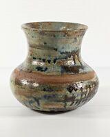 "Vtg Studio Art Pottery Vase Earthy MCM Mid Century Modern Stoneware Signed 5"""