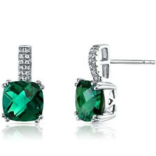 14K White Gold Created Emerald Earrings Cushion Checkerboard Cut 3.50 ct