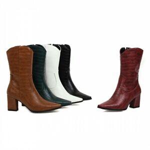 Cowboy Women Square Toe Block Heel Ankle Boots Crocodile Print 46 47 48 Shoes D