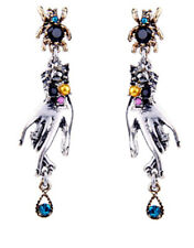 New Insect Beetle Spider  Hand McQueen Style Rhinestone Pearl Stud Drop Earrings