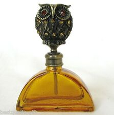 New Orange+Brass Vintage Perfume Bottle+Crystal Gem Owl Stopper+Box Pb-1176