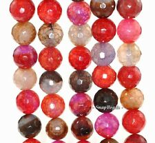 """12MM RAINBOW AGATE GEMSTONE SPIDER WED FACETED ROUND 12MM LOOSE BEADS 15"""""""