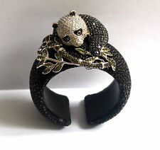 Butler and Wilson Crystal Panda & Leaves Black Stingray Bangle Cuff Bracelet NEW