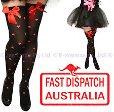 Costume Fancy Dress Lingerie Thigh High Stockings Bow Red Love Heart BLACK