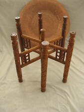 """Egyptian Copper Tray Wooden Table Stand Arabic Islamic Design Tea Coffee 20"""""""