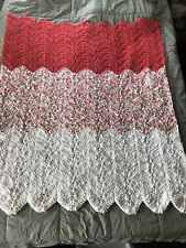 Crochet Afghan Blanket, New, Coral/Multi/White Blanket Yarn & Worsted