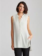 NWT $258 Eileen Fisher Dune Silk Georgette Crepe Mandarin Collar Tunic PS