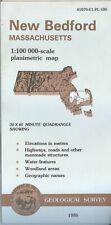 USGS Topographic Planimetric Map NEW BEDFORD Massachusetts 1986 100K