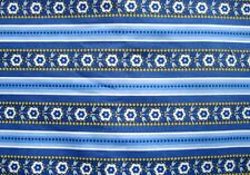 2 Yards of Blue and Flowered Striped Cotton Fabric