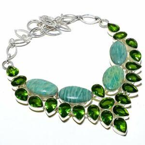 "Russian Amazonite & Peridot 925 Sterling Silver Jewelry Necklace 16-18"" S1957"