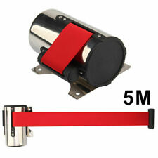 Wall Mount Queue Barrier Rope Posts Crowd Control Ribbon-Retractable 5M Belts