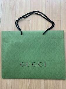 Auth Gucci Green Paper Shopping Gift Bag Sz L 19x14x6.5