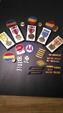 very large lot ww2 ww11 wwll medals patches, ribbons gold silver 30 rifel  arty