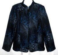 WOMEN'S SUSAN GRAVER BLUE BLACK PAISLEY ZIP FRONT BROCADE JACKET WITH POCKETS  S