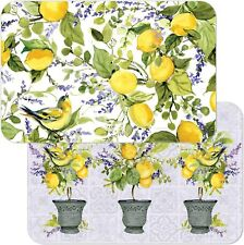New listing Watercolor Lemons, Reversible Easy Care Set of Four Placemats, Made in The Usa