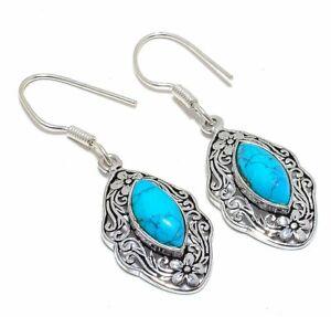 "Santa Rosa Turquoise Gemstone 925 Sterling Silver Jewelry Earring 2.0"" T2752"