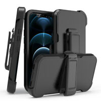 For iPhone 12 Pro/12 Pro Max Case With Stand Heavy Duty Holster Belt Clip Cover