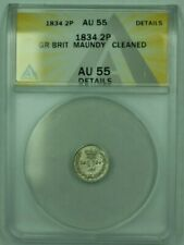 1834 Great Britain Maundy 2P Pence ANACS AU-55 Details Cleaned