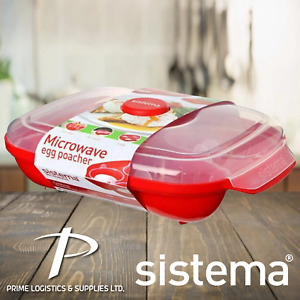SISTEMA MICROWAVE EGG POACHER | EGG BOILER COOKER STEAMER FIT 4 EGGS - RED/CLEAR