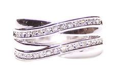 Luxurious & Magnificent - Diamanté Double Swirl Chrome Hand Ring (Zx89)