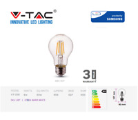 V-TAC LED Bulb, Clear- Filament, 6W E27 A60 - Warm White